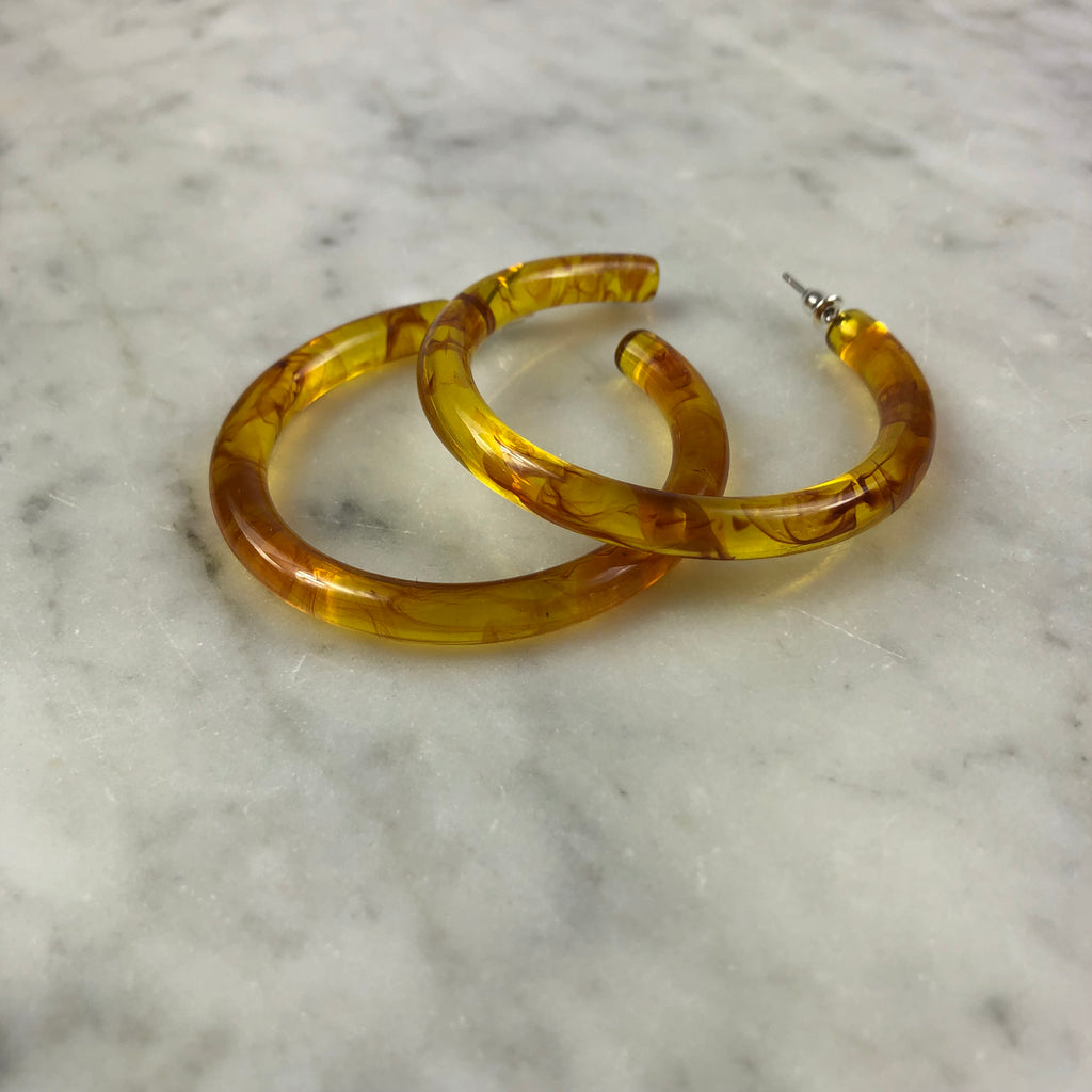 Resin Hoop Earrings Amber