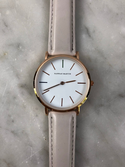 HM Rose Gold Leather Strap Watch Grey