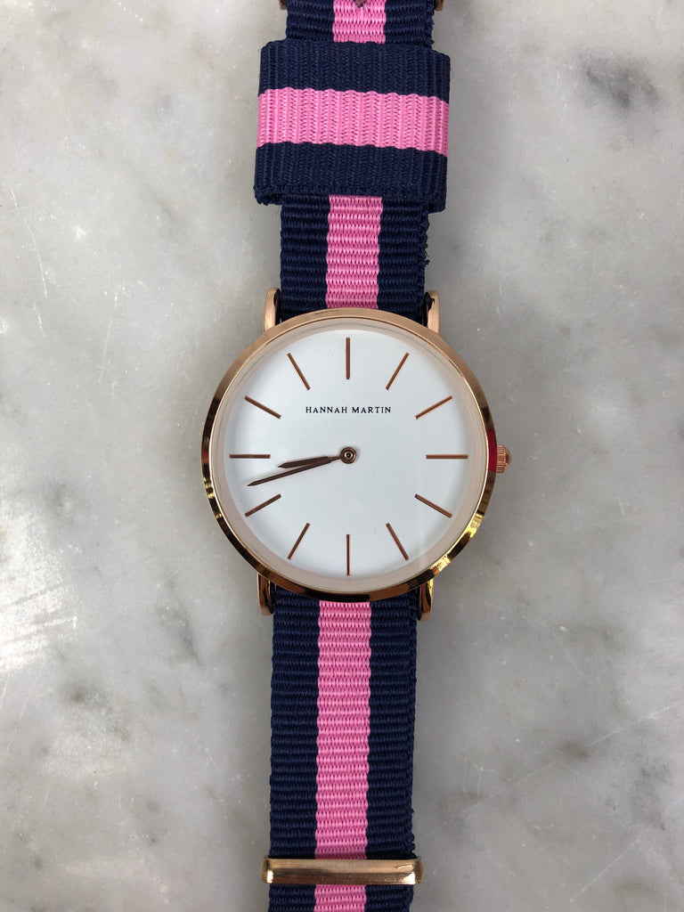 HM Rose Gold Fabric Strap Watch Pink