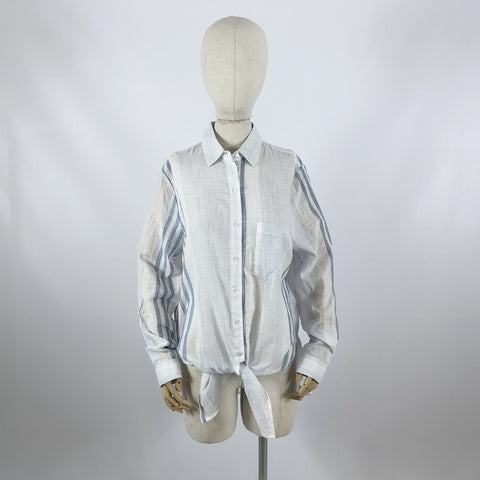 Tie front cotton shirt blue and white stripe