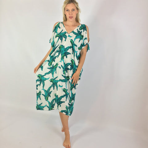 Hillary Leaf Print Tie Sleeve Dress