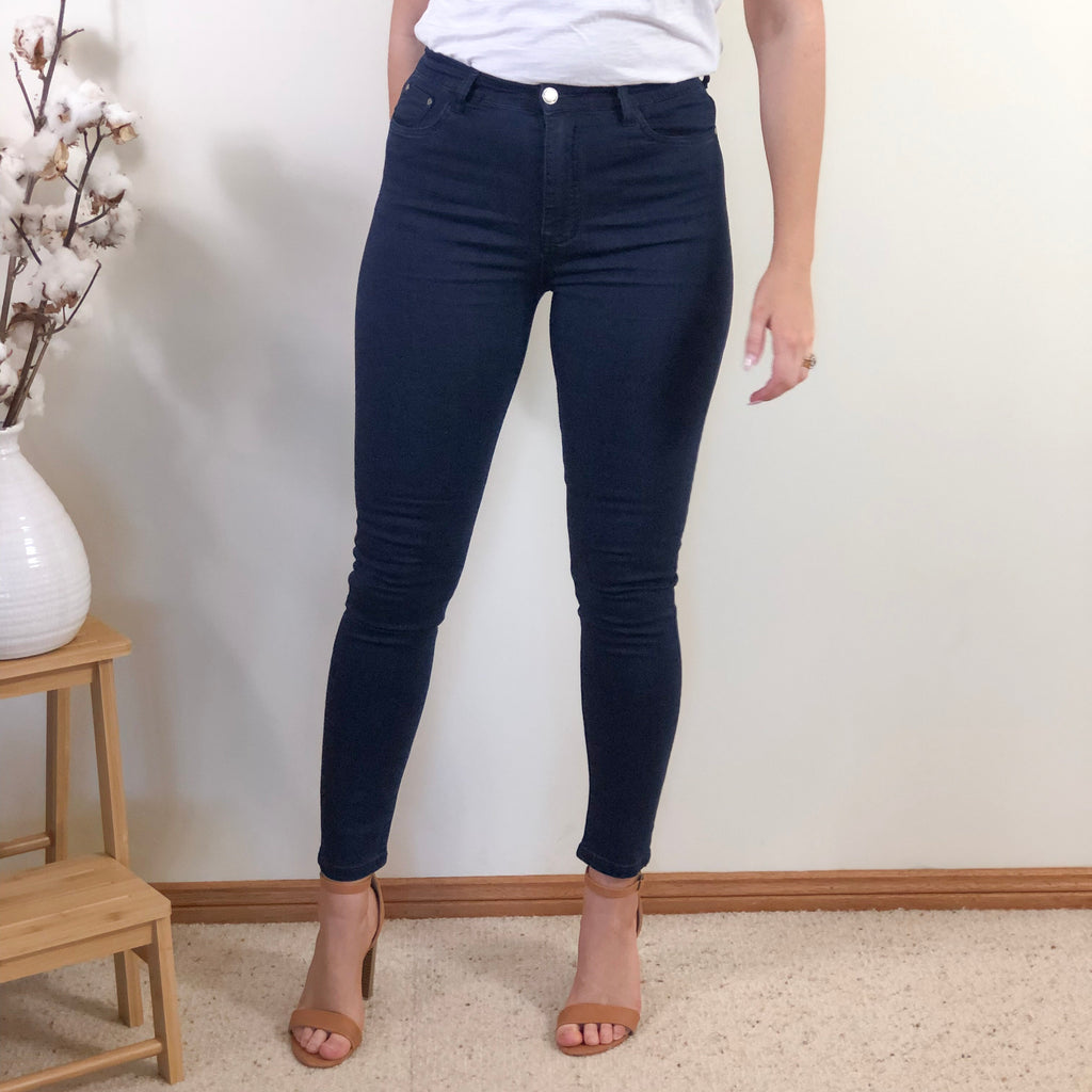 Basic High Rise Jeans Navy