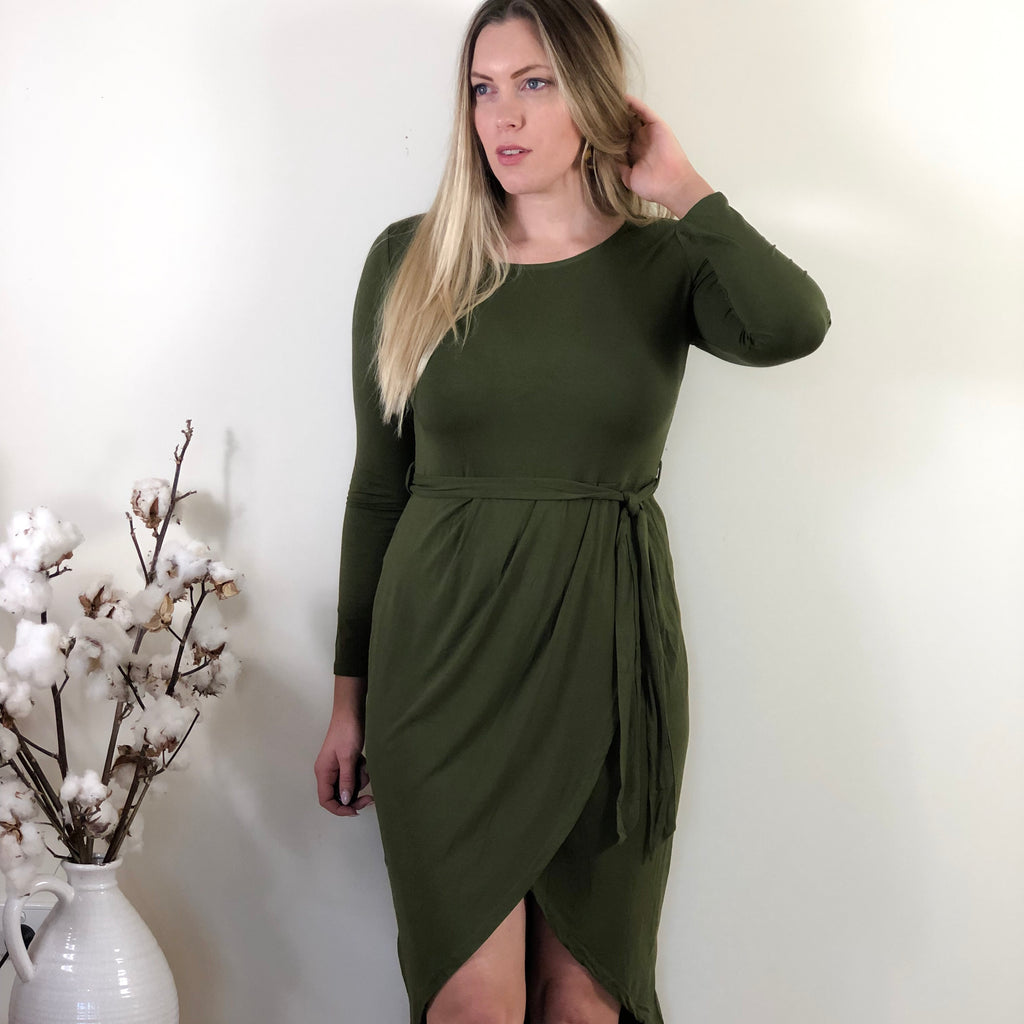 Beanie Jersey Dress Khaki