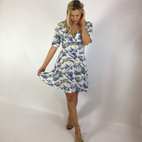 Marina Boat Print Cotton Dress