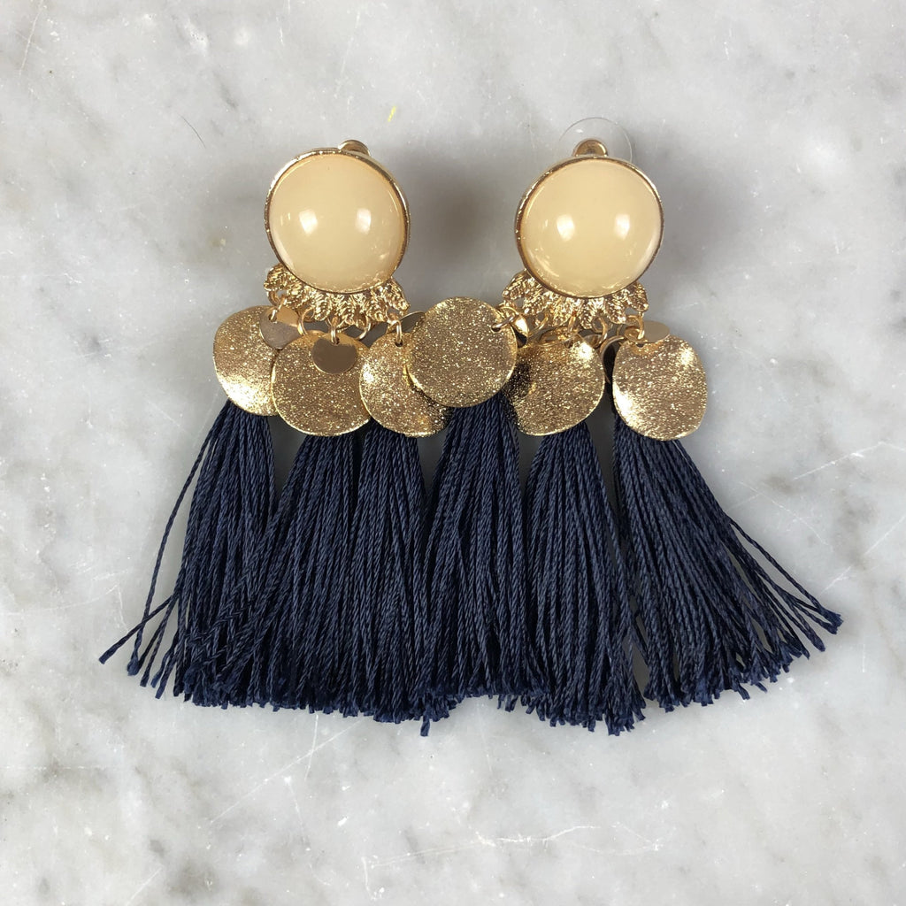 Tassel Earrings Gypsy Navy