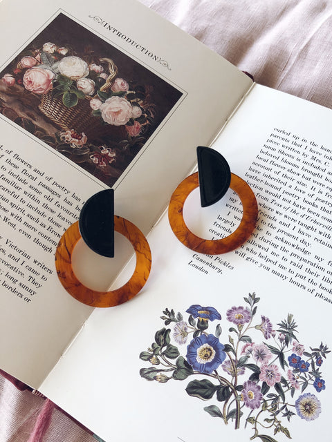 Resin Circle Earrings Tortoise Shell