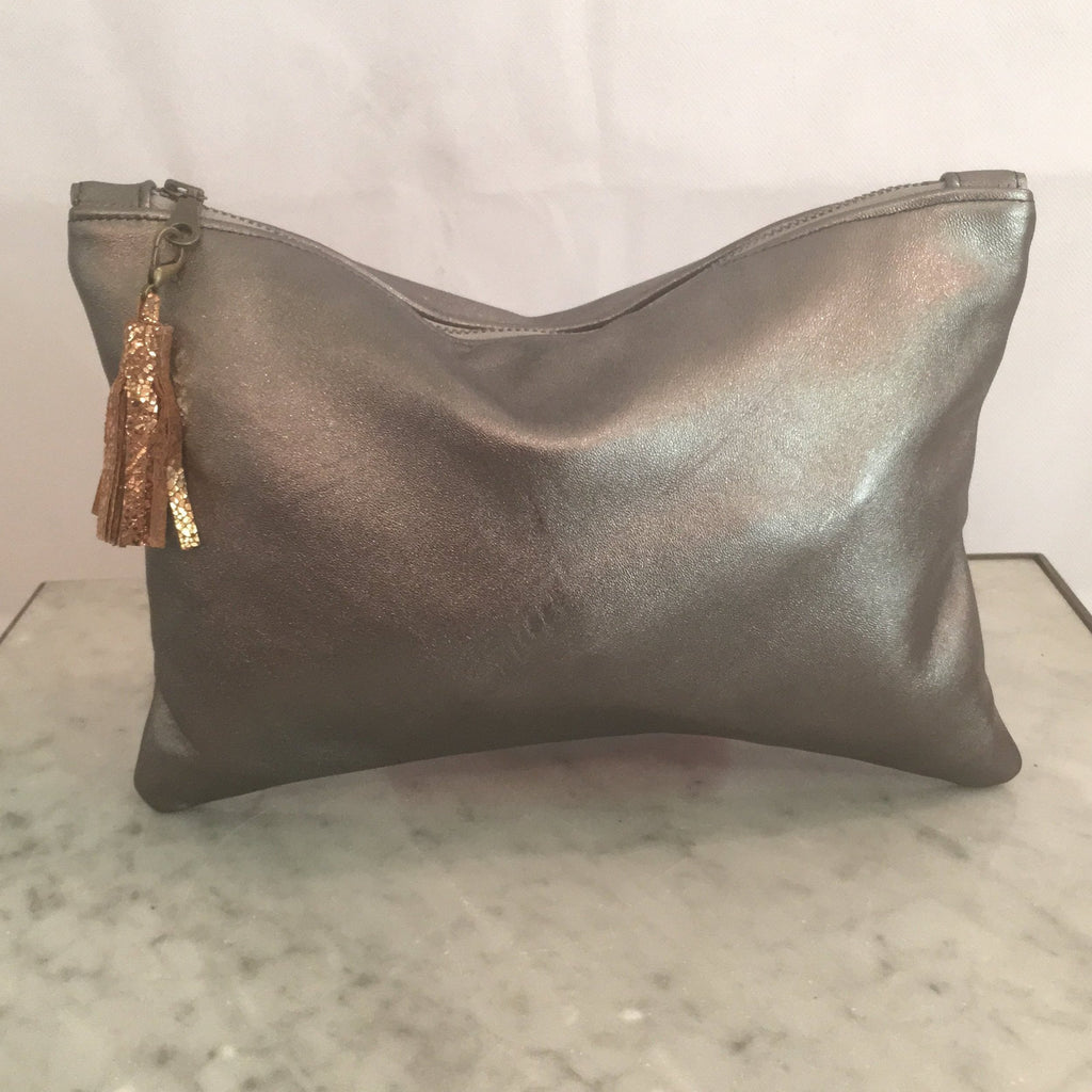 Delilah Soft Leather Clutch Pewter