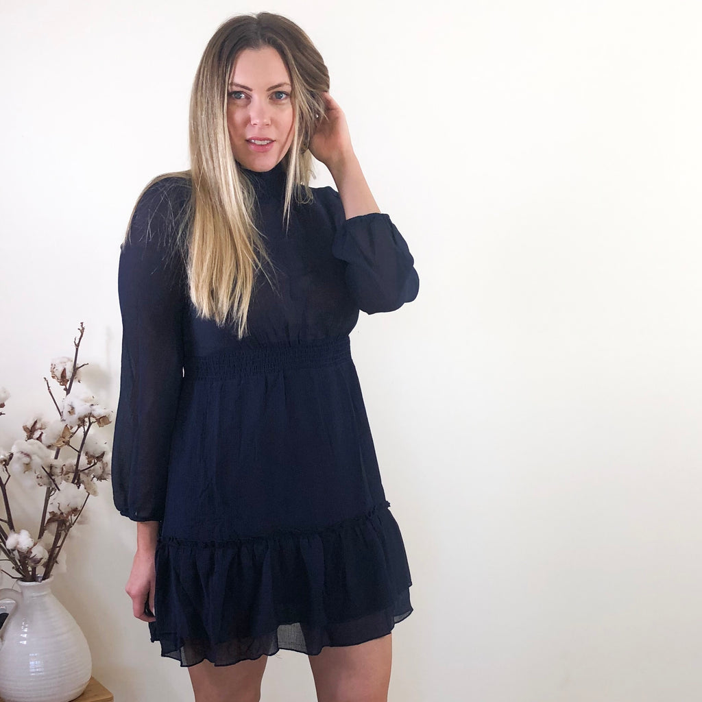 Ayla High Neck Dress Navy