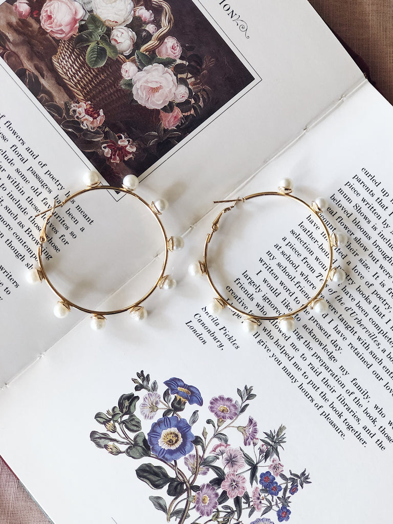 Gold Multi Pearl Hoops