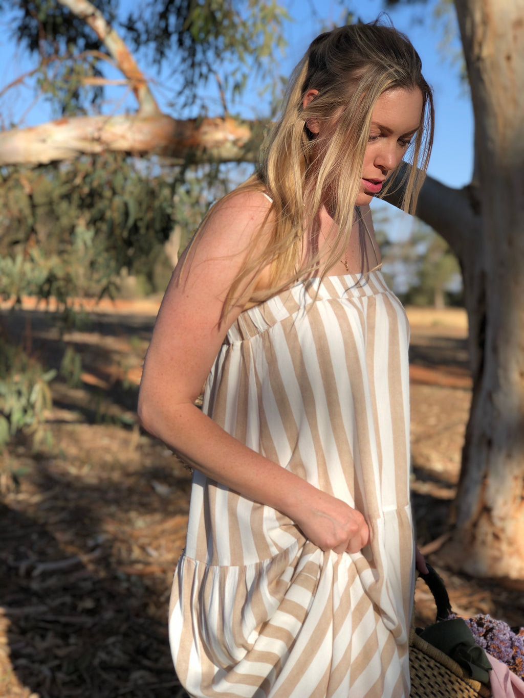 Skye Maxi Dress Sand Stripe