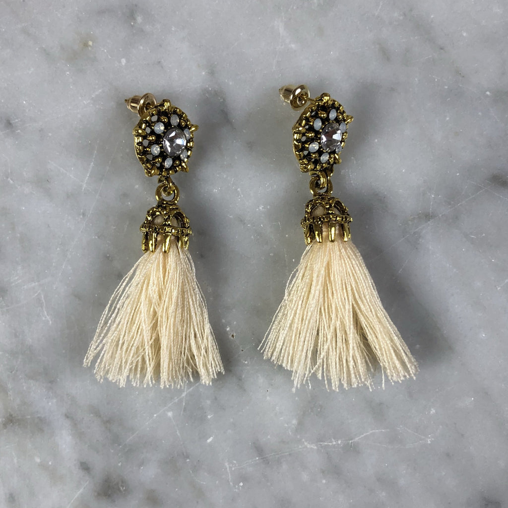 Tassel Earrings Mini Crystal Cream