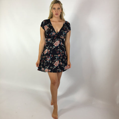 Eliza Navy Wrap Dress