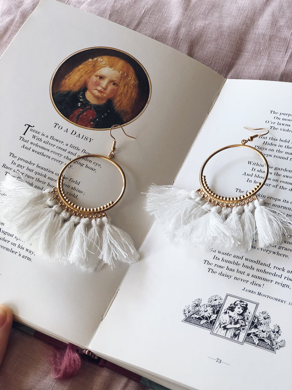 Tassel Earrings Hoop White