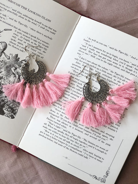 Tassel Earrings Boho Pink