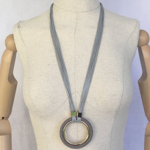 Infinity Hoop Necklace Grey Leather