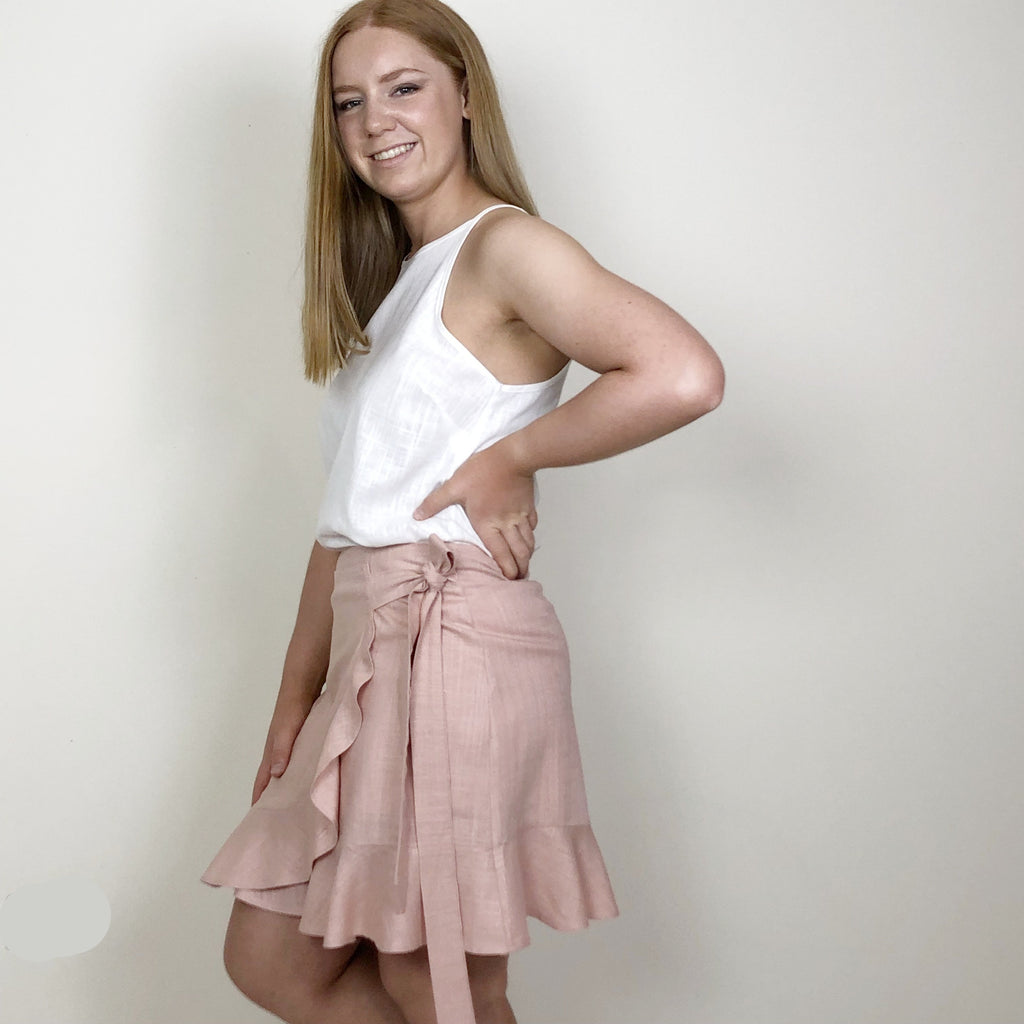 Marie Faux Wrap Skirt Blush