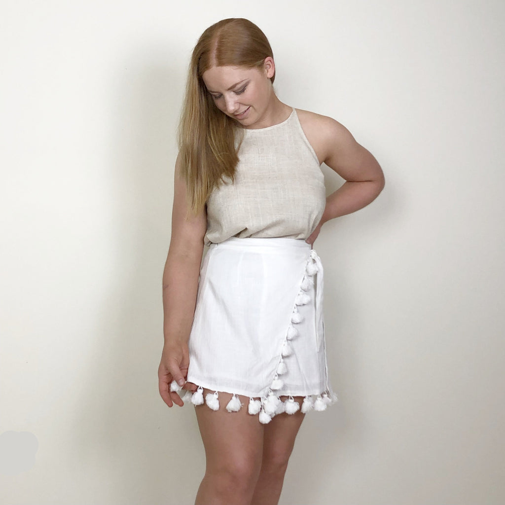 Evie Wrap Skirt White