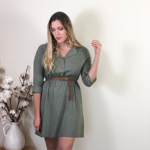 Tina Linen Dress Khaki
