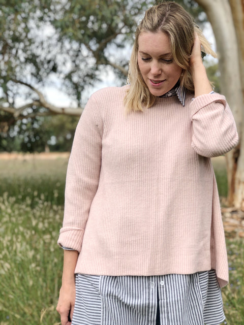 Angela Open Back Jumper Blush