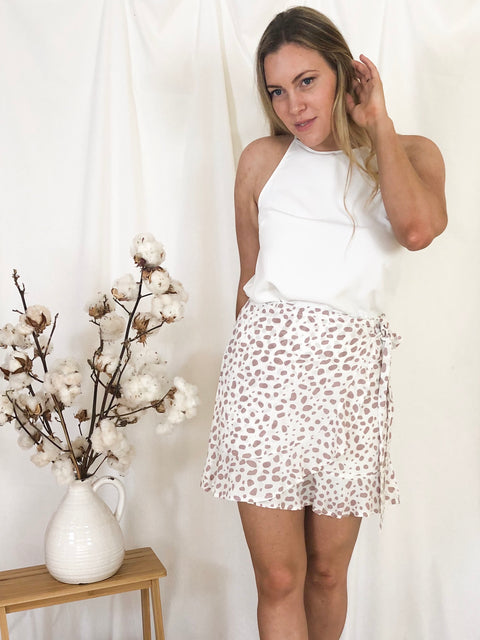 Marie Faux Wrap Skirt White Spot