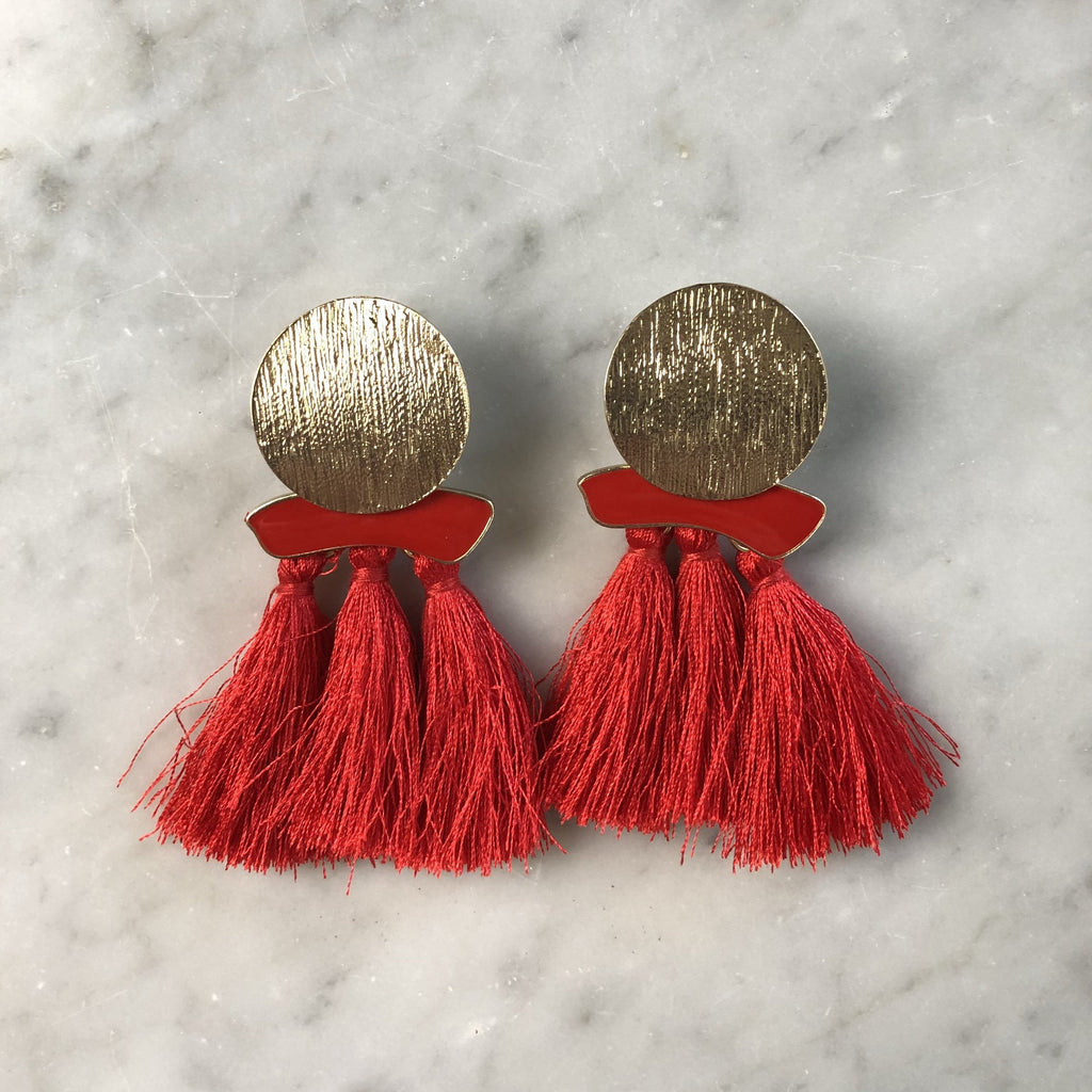 Tassel Earrings Gold Disk Red