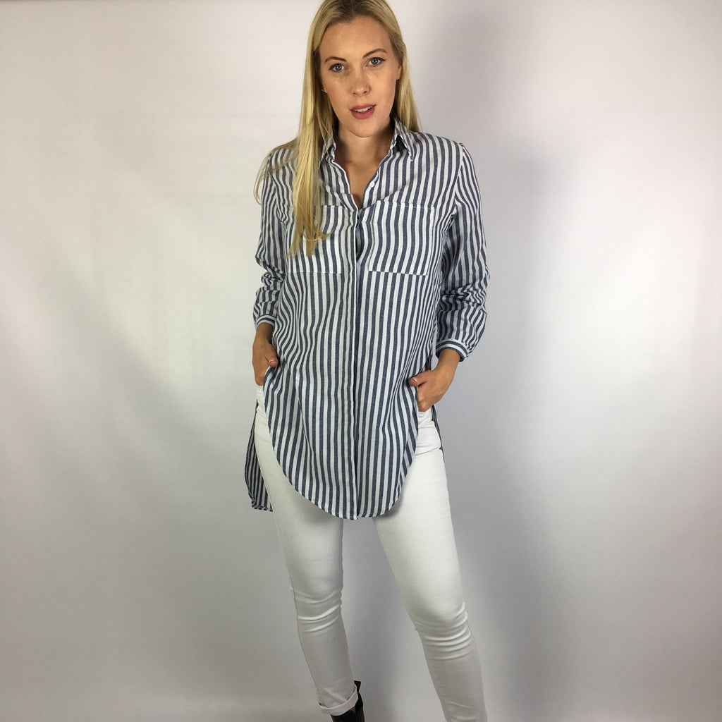Long blue and white stripe shirt layering tie front cotton