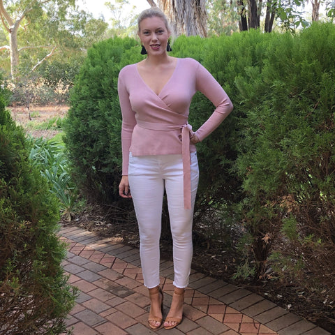 Greta Ballet Wrap Knit Top Dusty Pink