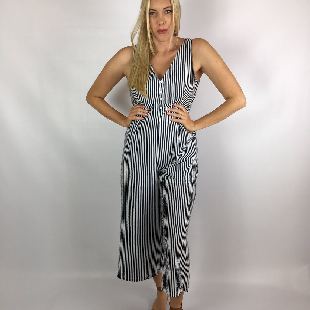 blue and white stripy jumpsuit