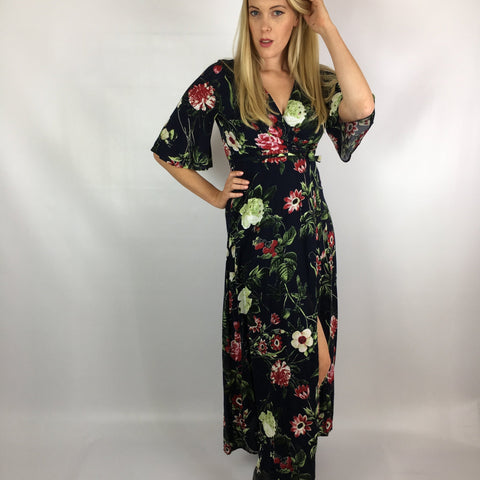 Bianca Maxi Wrap Dress Berry Flowers