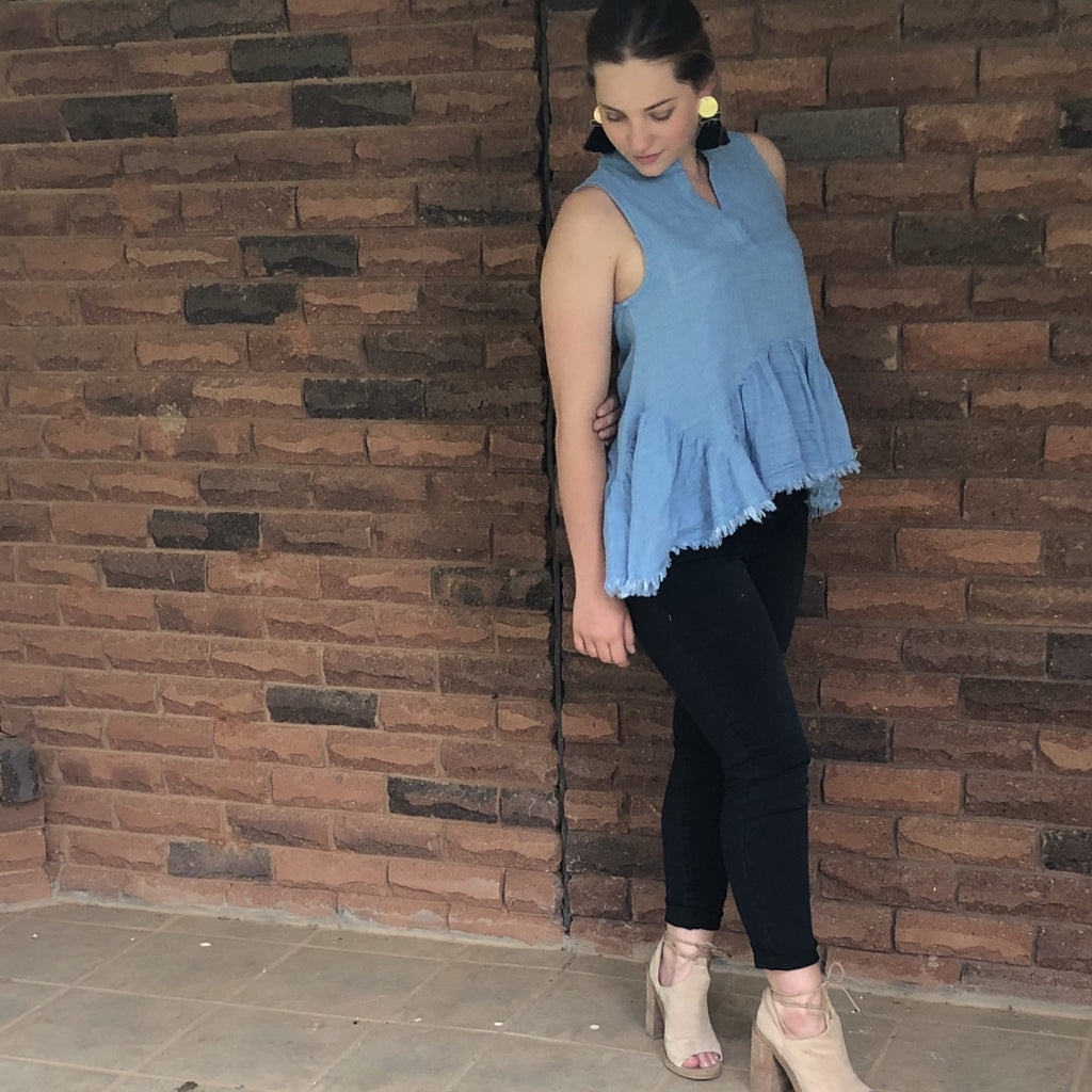 Kota Peplum Chambray Top