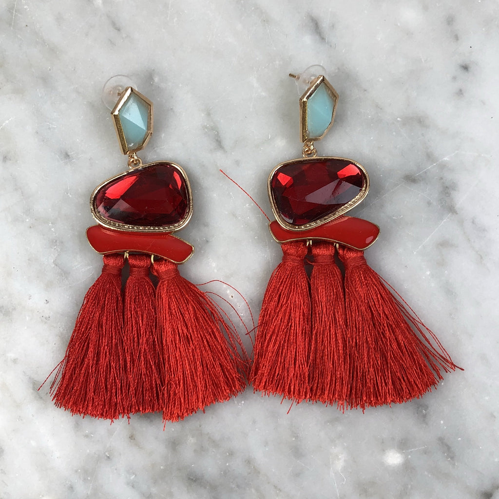 Tassel Earrings Red Gems