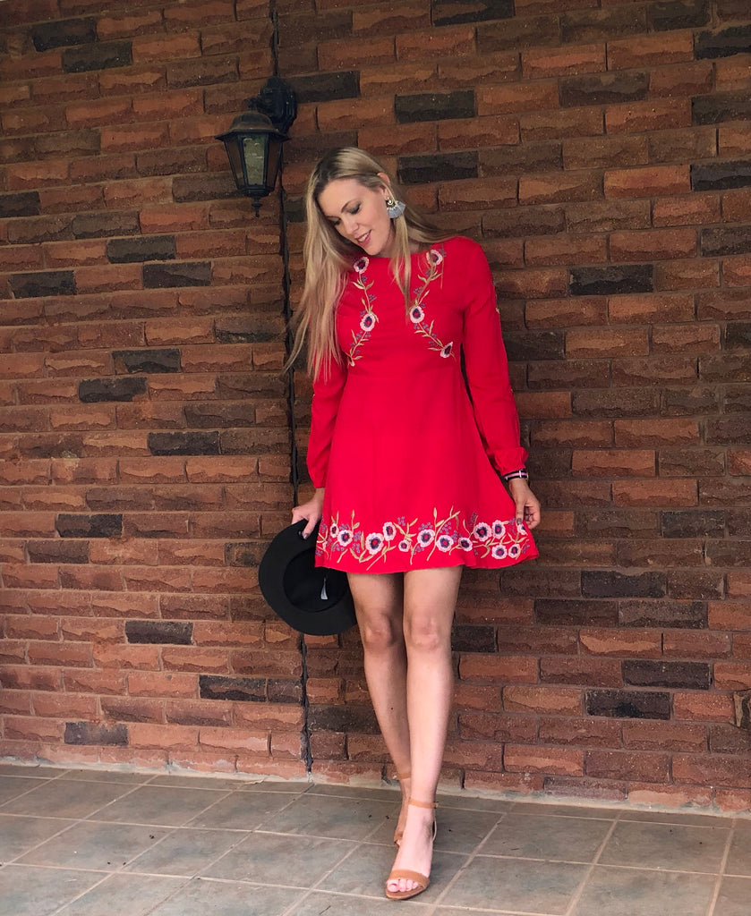 Ria Embroidered Dress Red