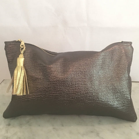 Delilah Soft Leather Clutch Charcoal