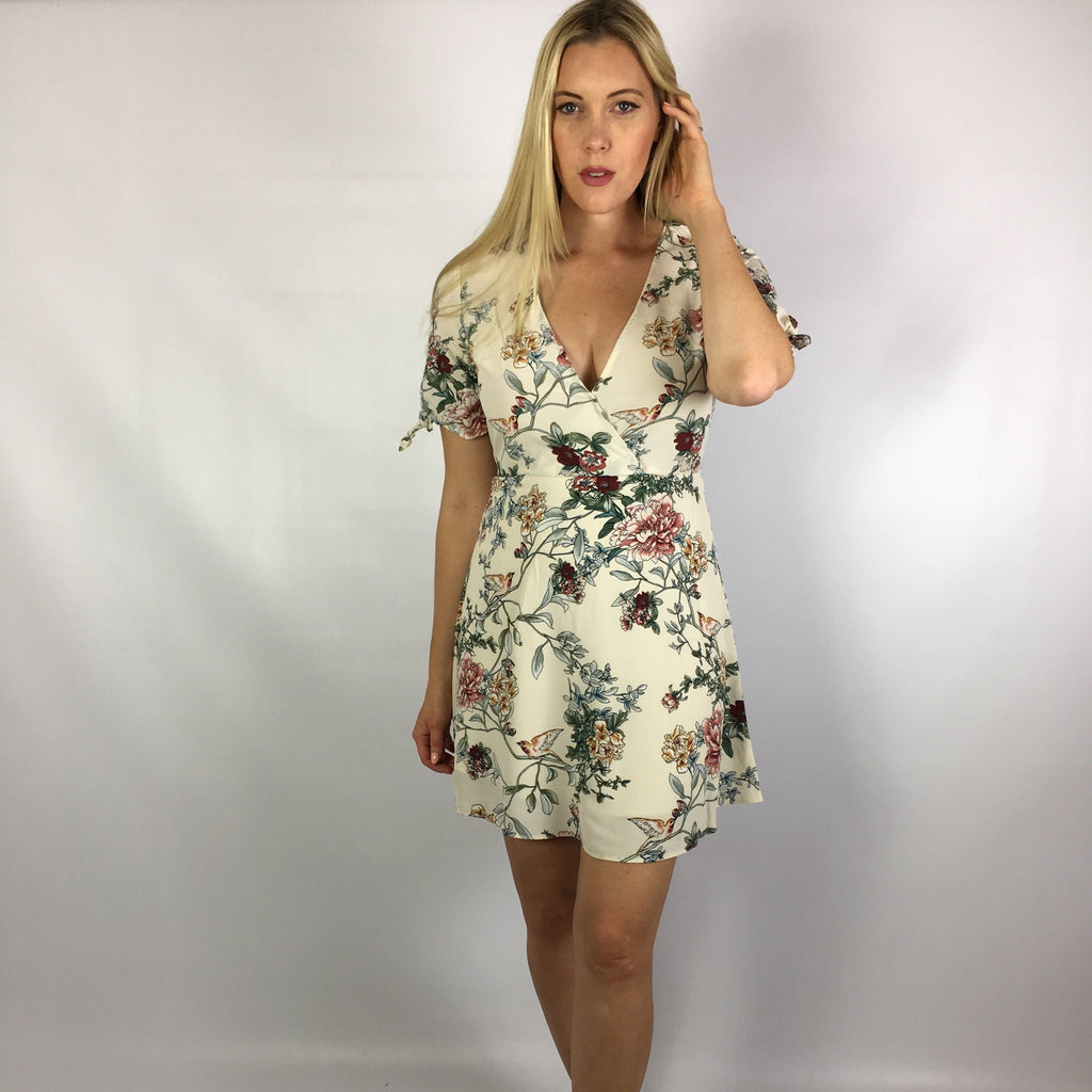 Cream floral wrap front dress with sleeves