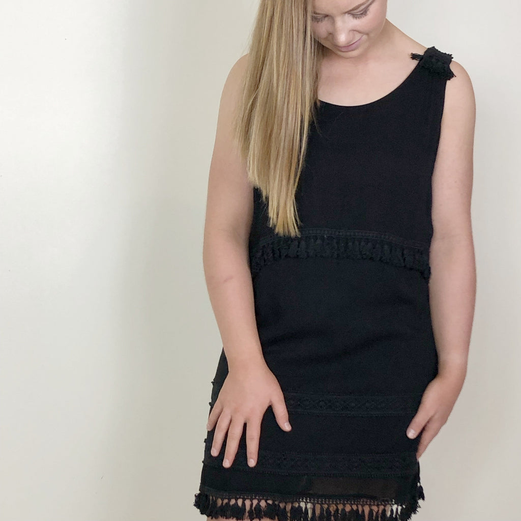 Delta Tassel Dress Black