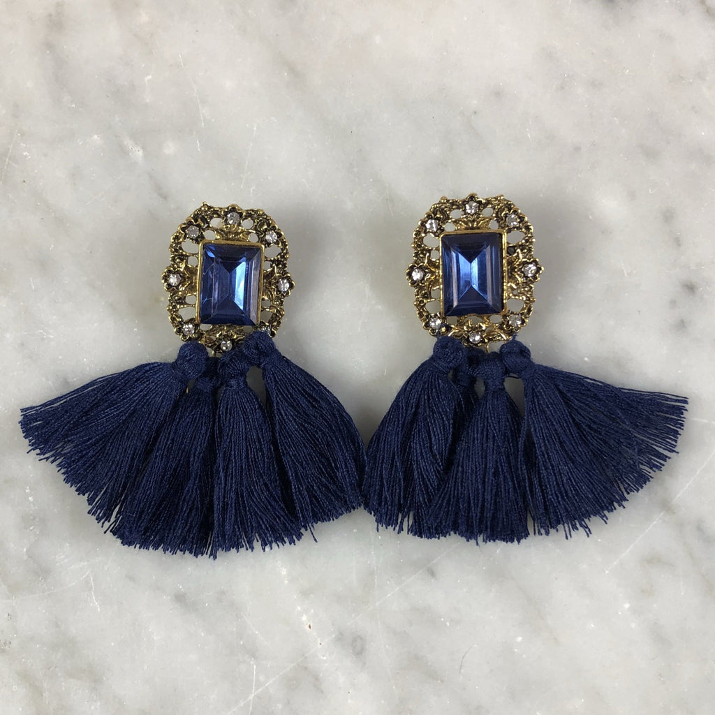 Tassel Earrings Vintage Navy