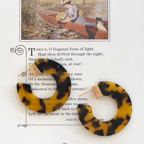 Hoop Earrings Tortoise Shell