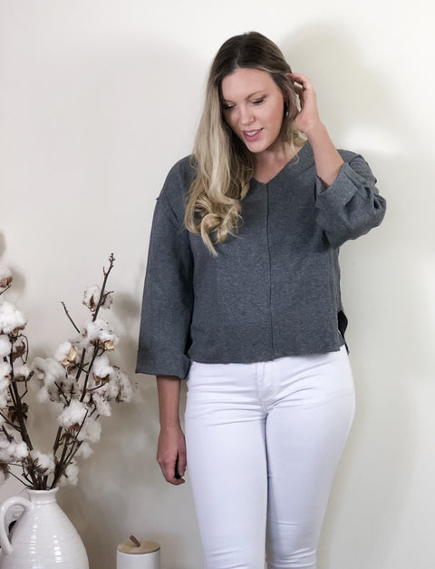 Martha Jersey Top Grey