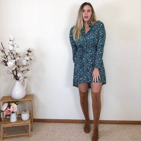 Cathy Shirt Dress Teal Spot