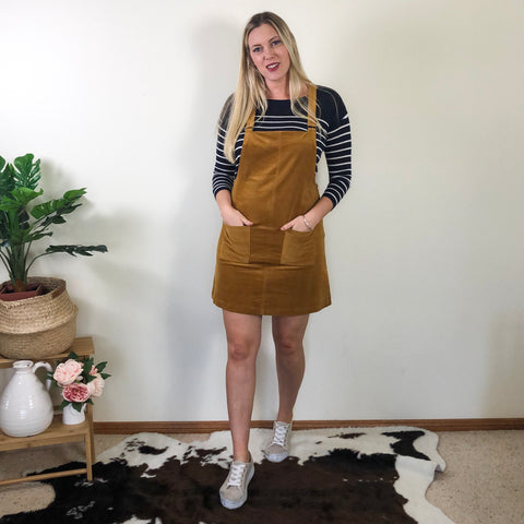 Tilly Cord Pinafore Mustard