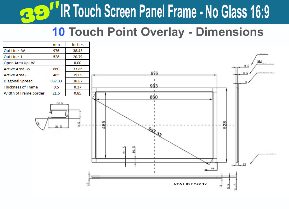 60 Inches 10 Touch Points 16:9 Ratio IR Touch Frame Panel Overlay Kit Plug/& Play