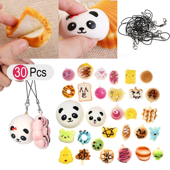 30Pcs Jumbo Medium Mini Random Squeeze Soft Panda Bread Cake Buns Phone Straps