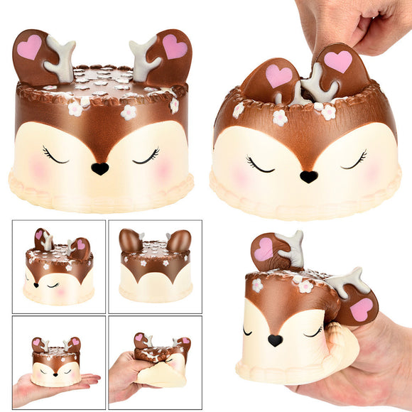 Squishy Jumbo Deer Cake Slow Rising Scented Squeeze Toy Collection Cure Gift
