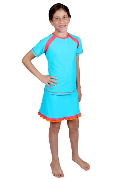 Girl's 3/4 Sleeve Raglan Swim Top and Long Swim Skirt Set
