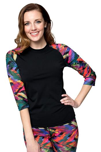 Baseball Babe Inspired Long 3/4 Sleeve Rash Guard Swim Shirt - Chlorine proof - Sale