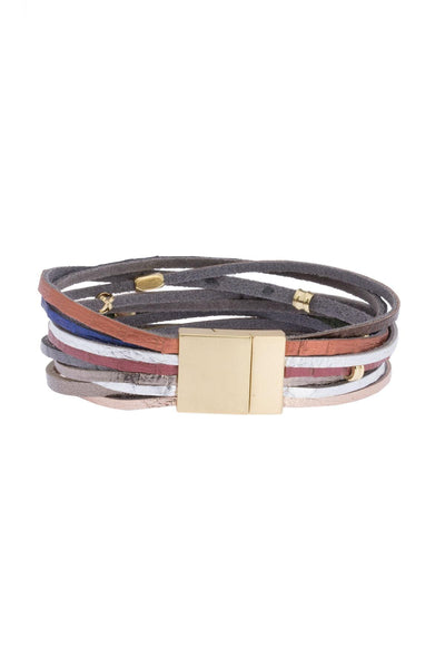 Multi Colored Strap Bracelet Stack