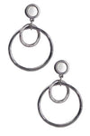 Linked Hoop Earrings in Brushed Gunmetal Silver