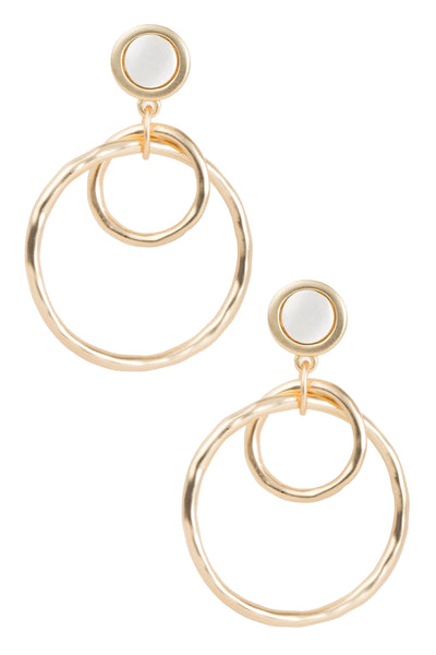 Linked Hoop Earrings in Brushed Gold