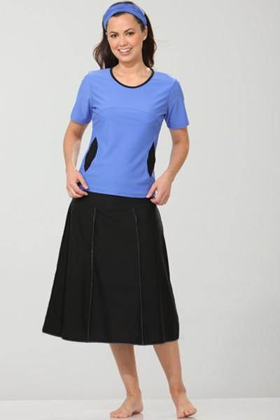 dbd8868f78f57 Waters Edge Hip Hiding Drop Waist Long Swim Skirt - HydroChic