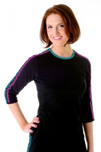 Double Stripe Swim n' Sport 3/4 Sleeve Active Wear Shirt - Chlorine Proof